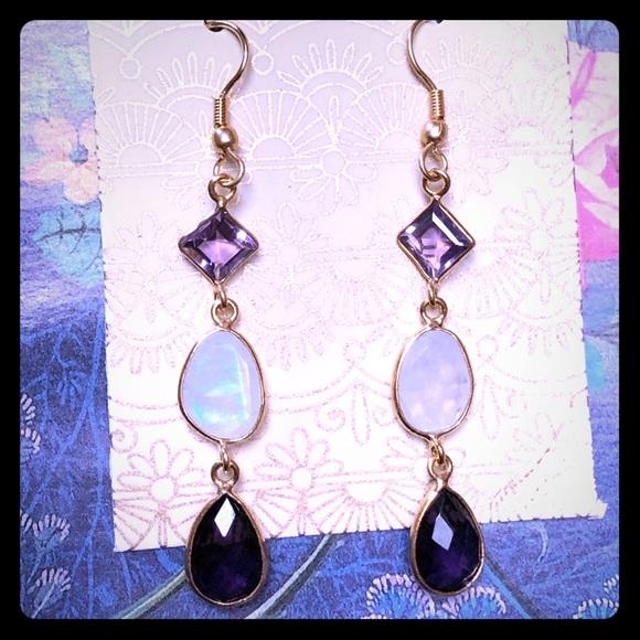 Amethyst & Rainbow Moonstone Earrings